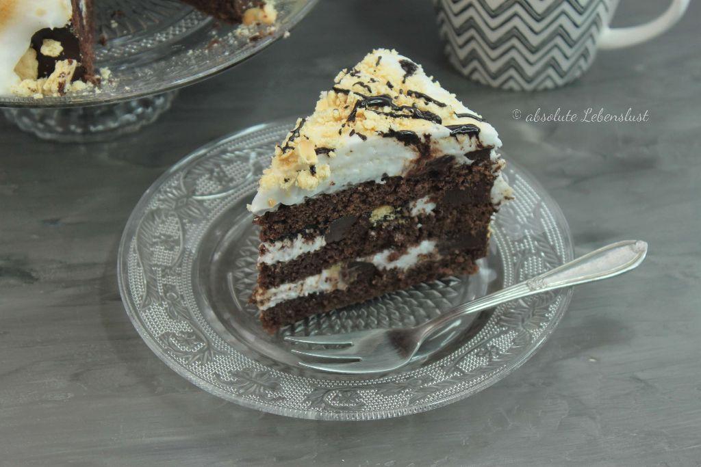 S'mores torte, s'mores kuchen, marshmallow kuchen, foodporn, geile torten, geniale torten, ohne fondant, torten ohne fondant, torten dekorieren