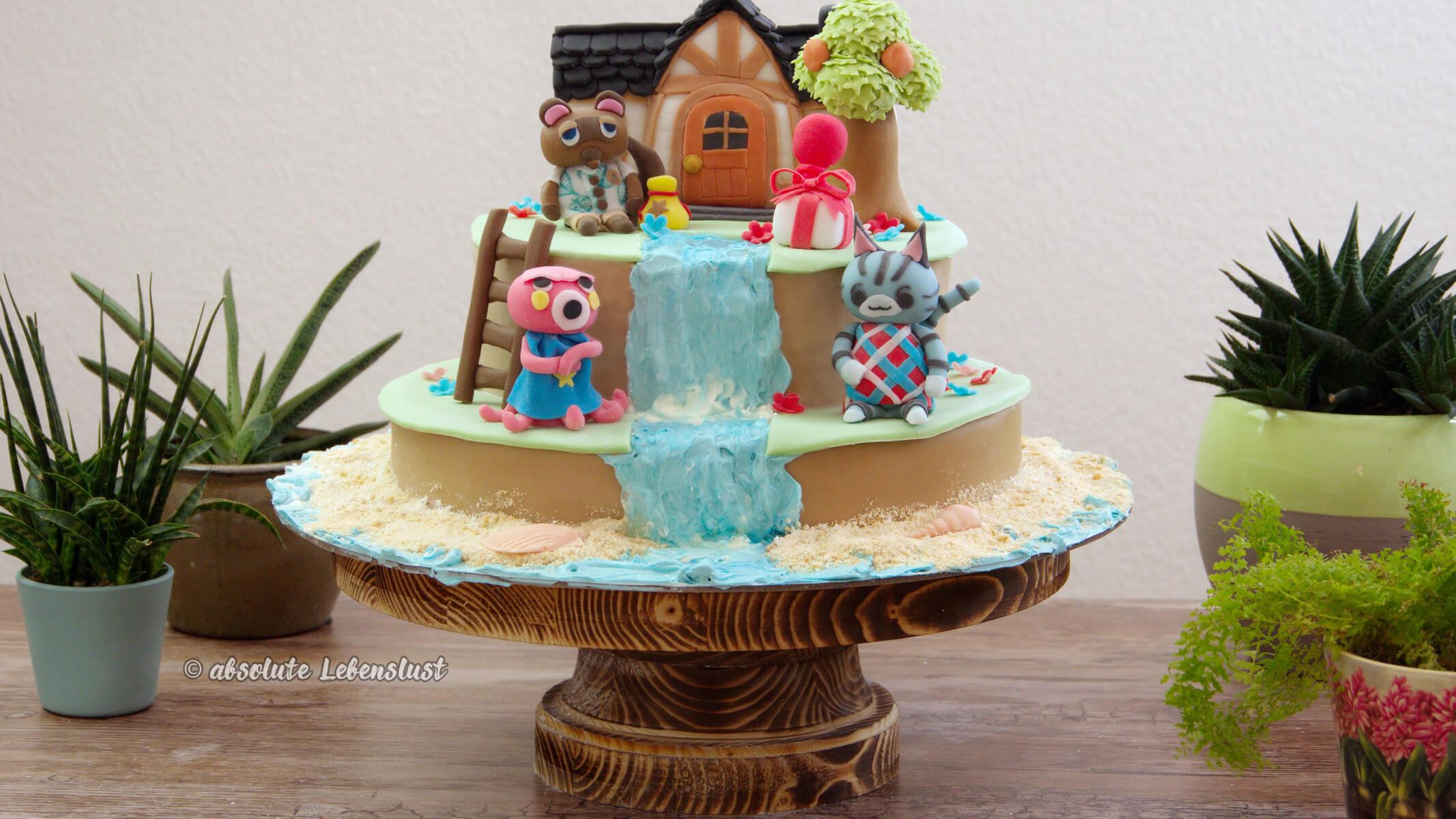 animal crossing, cake, fondant cake, tom nook, strand torte, urlaub torte, urlaubstorte, new horizons