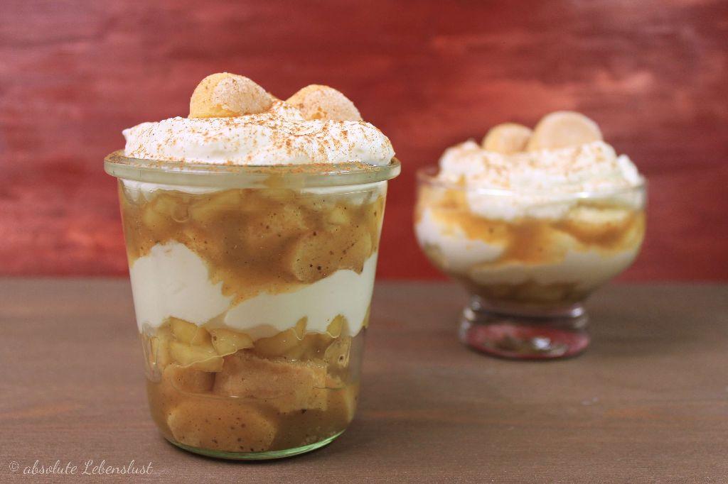 apfel rezepte, apfel trifle, apfel weißwein, dessert, schichtdessert im glas, dessert im glas, nachtisch im glas, selber machen