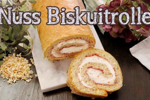 biskuitrolle, nuss kuchen, nusskuchen, nuss biskuitrolle, swiss roll, backen, rezept, einfach, selber machen,