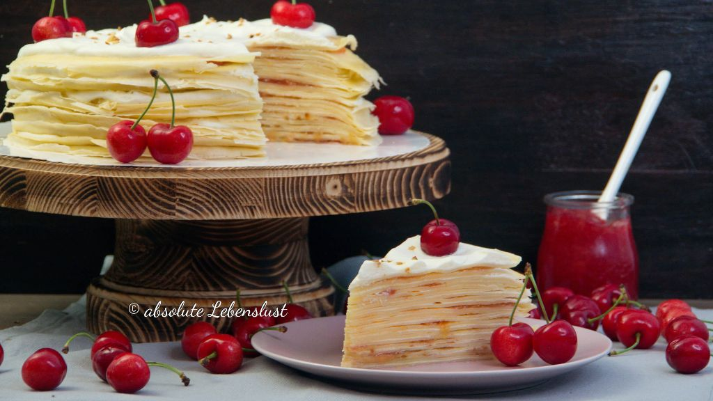 crepes torte, mille crepe torte, mille crepe cake, mille crepes, marmelade selber machen, selbstgemachte marmelade, kirschmarmelade, selber machen, backen