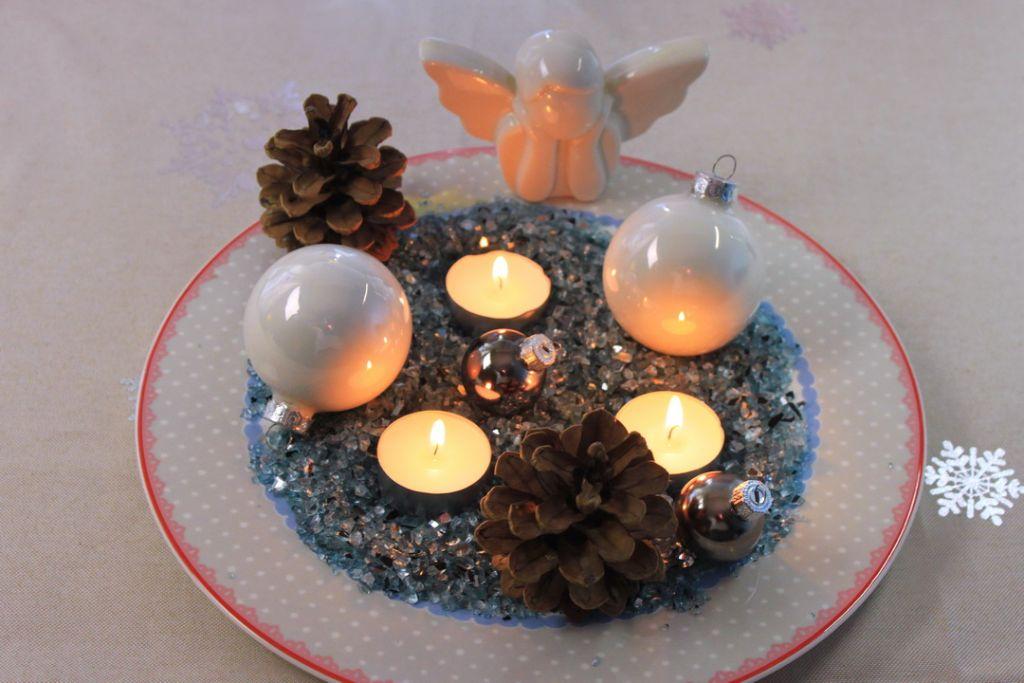 diy deko ideen, weihnachtliche deko selber machen, tischdeko selber machen, kerzenteller dekorieren, kerzenteller, selber machen, dekoteller