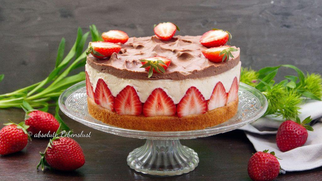 erdbeertorte, backen, rezept, selber machen, mit pudding, ohne gelatine, sahnetorte, erdbeerkuchen