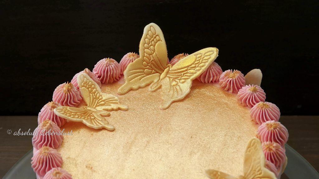 geburtstagstorte backen, birthdaycake, birthday cake, without fondant, buttercream cake, pink, butterflies, geburtstagstorte rezept, mit bild, mit video