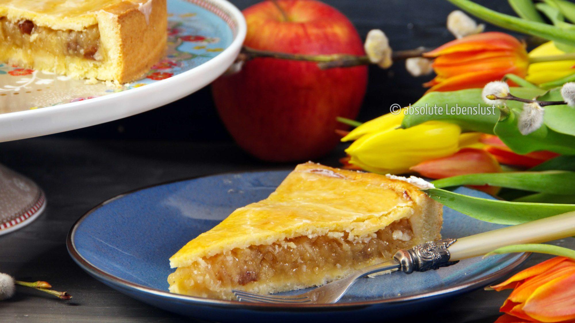 gedeckter apfelkuchen, apfelkuchen backen, backen, rezept, rezepte, selber machen, einfach, mürbeteig, rosinen