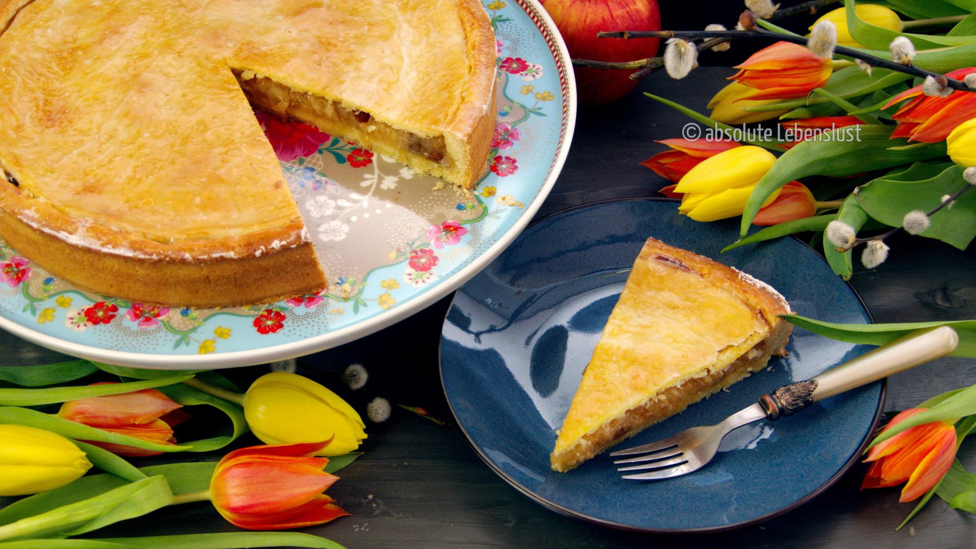 gedeckter apfelkuchen, backen, rezept, selber machen, nach omas rezept, mürbeteig, rosinen, einfach, apfelkuchen rezept, kuchen klassiker