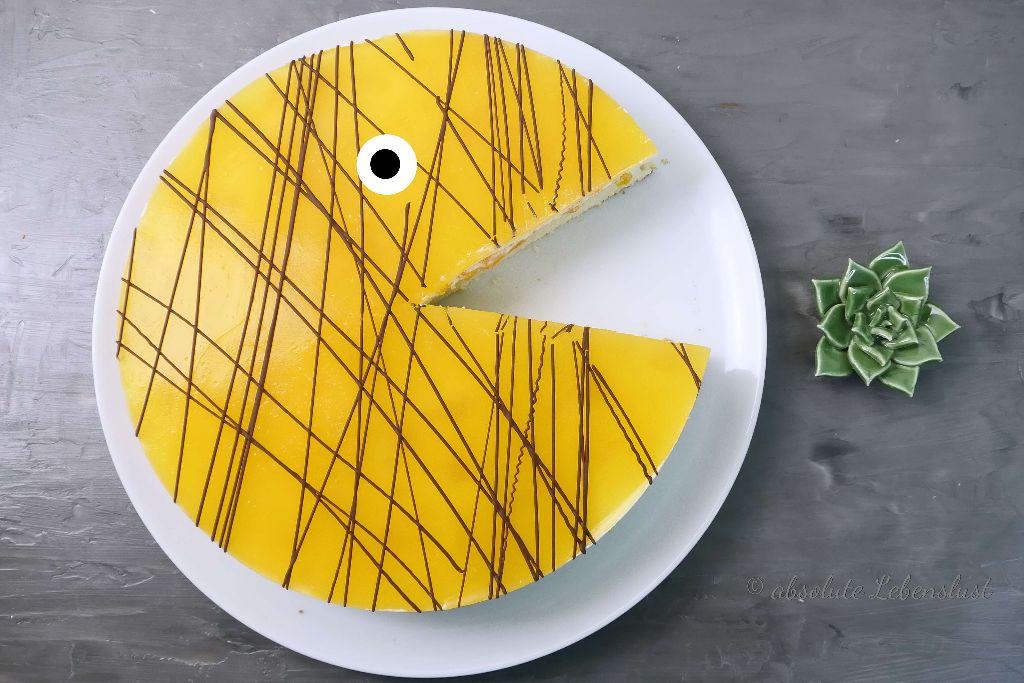 pfirsich maracuja torte, pfirsich-maracuja-torte, backen, rezept, mit bild, mit video, pacman torte
