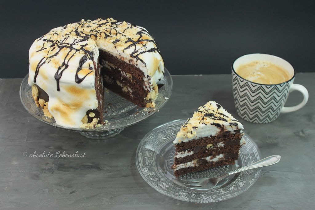 s'mores cake, leckere torte, leckere kuchenrezepte, kuchen blogs, torten blogs, back blogs, food tuber, foodtuber, foodtube, deutsche youtuber, backen, selber machen