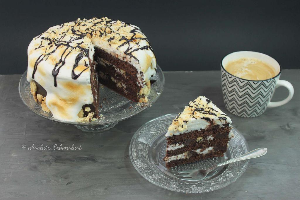 s'mores cake, leckere torte, leckere kuchenrezepte, kuchen blogs, torten blogs, back blogs, food tuber, foodtuber, foodtube, deutsche youtuber, backen, selber machen