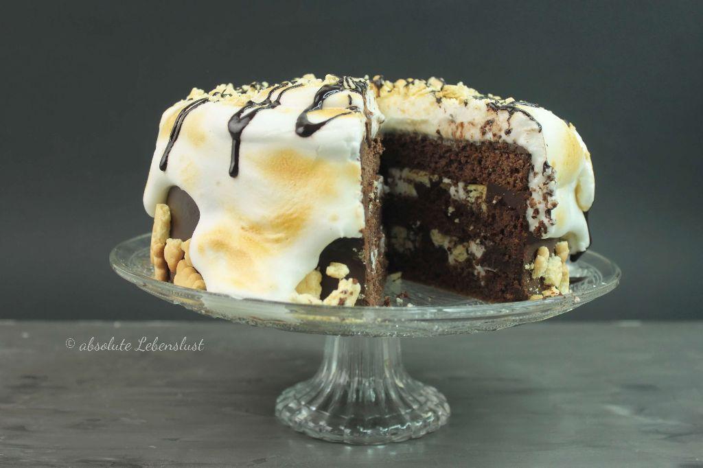 smores torte, marshmallow fluff selber machen, marshmallow fluff rezept, marshmallow rezepte, marshmallow torte, marshmallow cake