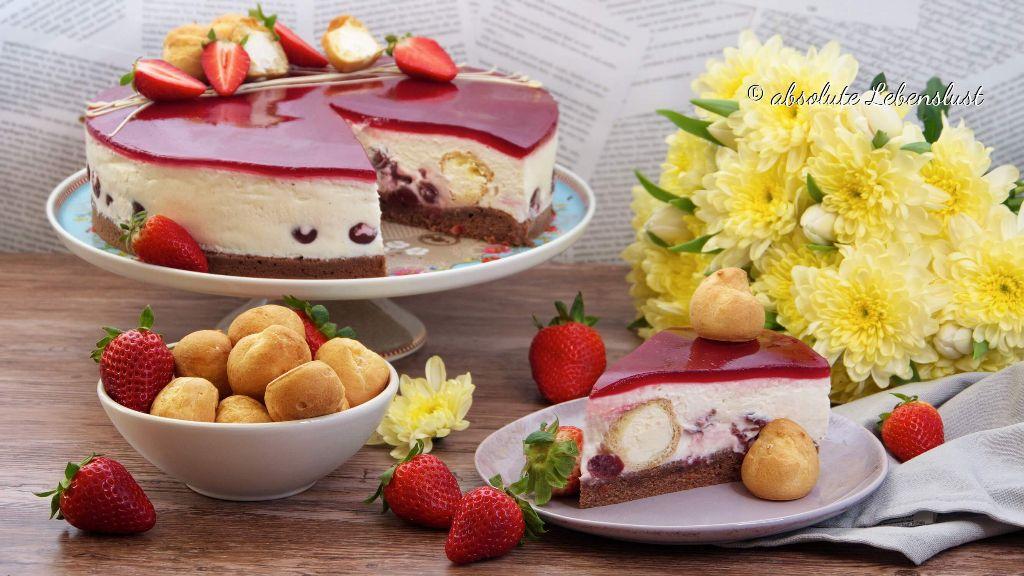 windbeutel kirsch torte, windbeutel torte, kirschtorte, kirsch joghurt, torte, kuchen, joghurt, windbeutel, backen, rezept
