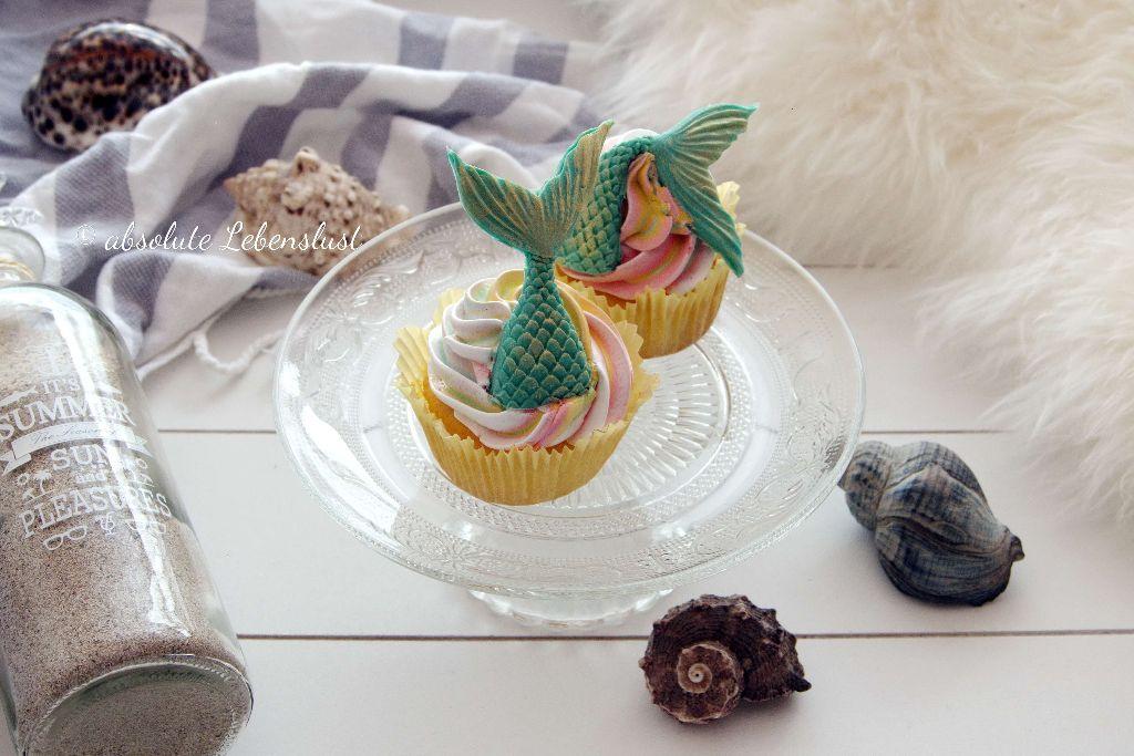 zitronen cupcakes, meerjungfrau cupcakes, mermaid cupcakes, backen, rezept, selber machen, motiv cupcakes, deutsch, cupcakes mit fondant, cupcakes dekorieren, dekorieren