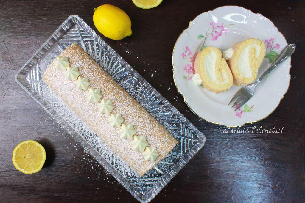 zitronenkuchen bacen, zitronen swillroll, biskuitrolle mit zitronencreme, biskuitrolle einrollen, biskuitrolle selber machen, ohne gelatine