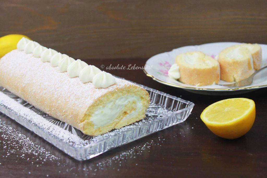 zitronen biskuitrolle rezept frische lemon swiss roll backen ohne gelatine absolute lebenslust. Black Bedroom Furniture Sets. Home Design Ideas