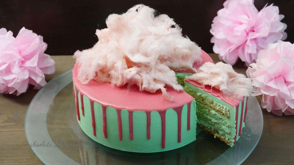 zuckerwatte, drip cake dekorieren, bunte torten, selber machen, backen, mit bild, mit video, torten dekorieren, ohne fodnant