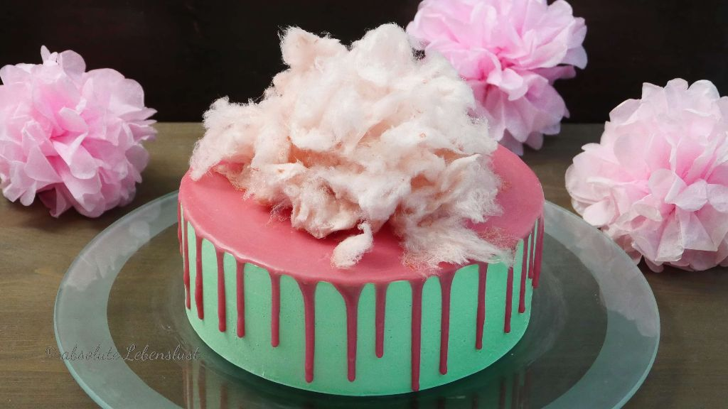 zuckerwatte torte, zuckerwatte deko, zuckerwatte selber machen, zuckerwatte kuchen, candy floss cake, candy cotton cake